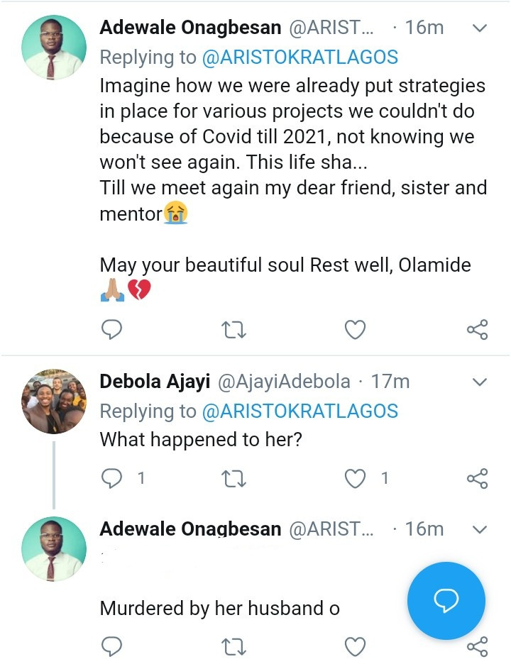 Friends mourn as woman named Olamide is murdered by her fianc? Chris Ndukwe