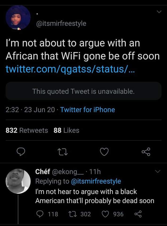 Black American dragged mercilessly for coming for a Nigerian on Twitter