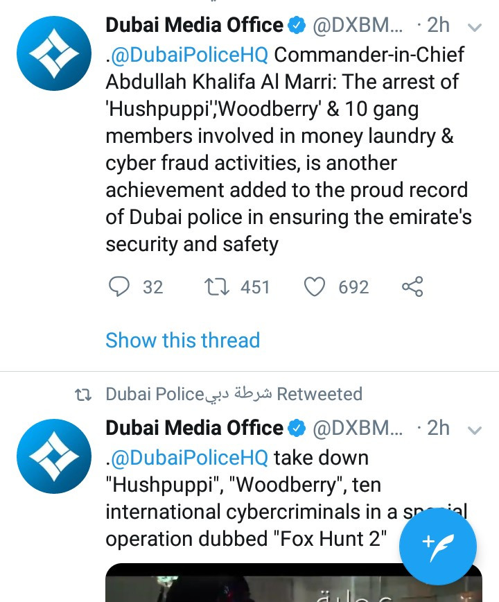 Dubai police release video showing how Hushpuppi and others were arrested in an operation dubbed Fox Hunt 2