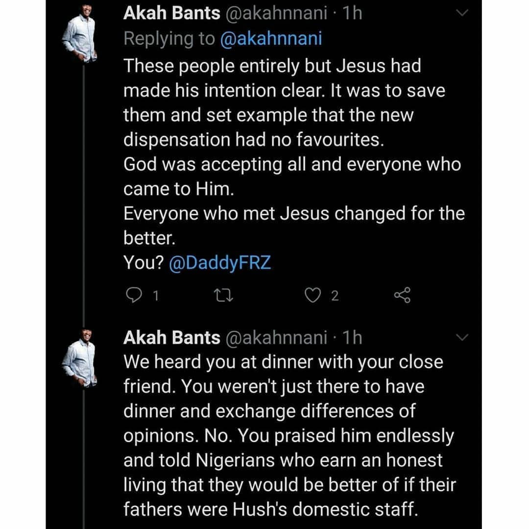 "Hushpuppi: Actor Akah Nnani writes DaddyFreeze, accuses him of twisting the scriptures to suit his ""selfish and carnal"" purposes"