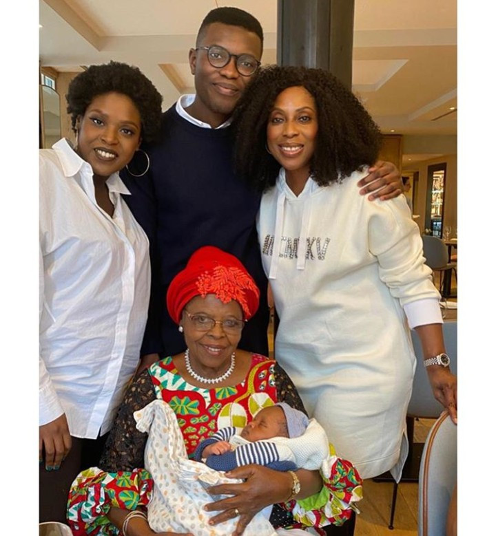 4 generations in one photo featuring Mo Abudu, her mother, her children and her grandson