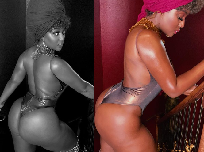 Amara La Negra shows off her massive backside in one-piece thong bodysuit (photos)