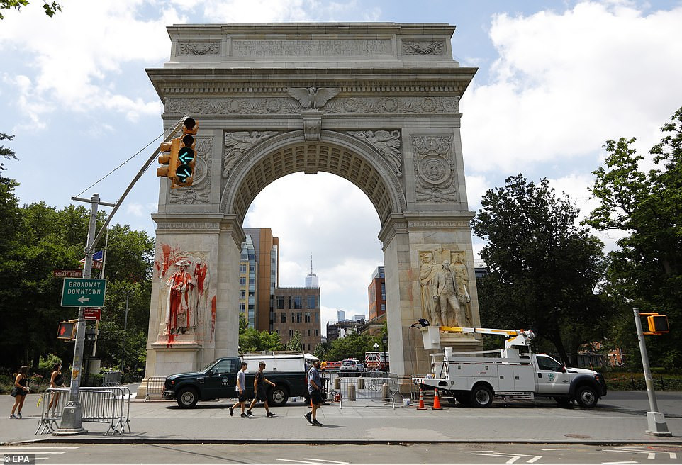 Police react after world famous monument of George Washington is defaced by Black Lives Matter protesters while NY city defunds police budget by $1b