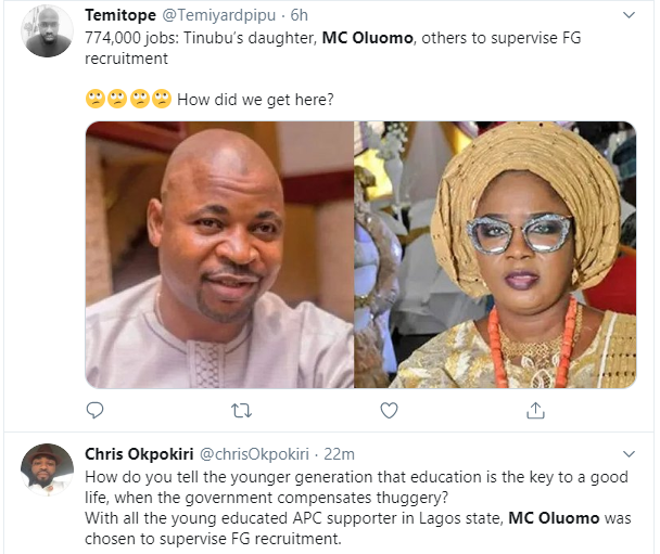 774,000 jobs: Nigerians react to Tinubu?s daughter, MC Oluomo being part of the committee to supervise FG