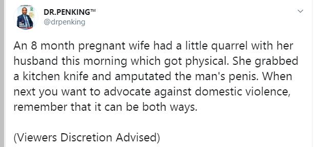 Pregnant woman chops off husband