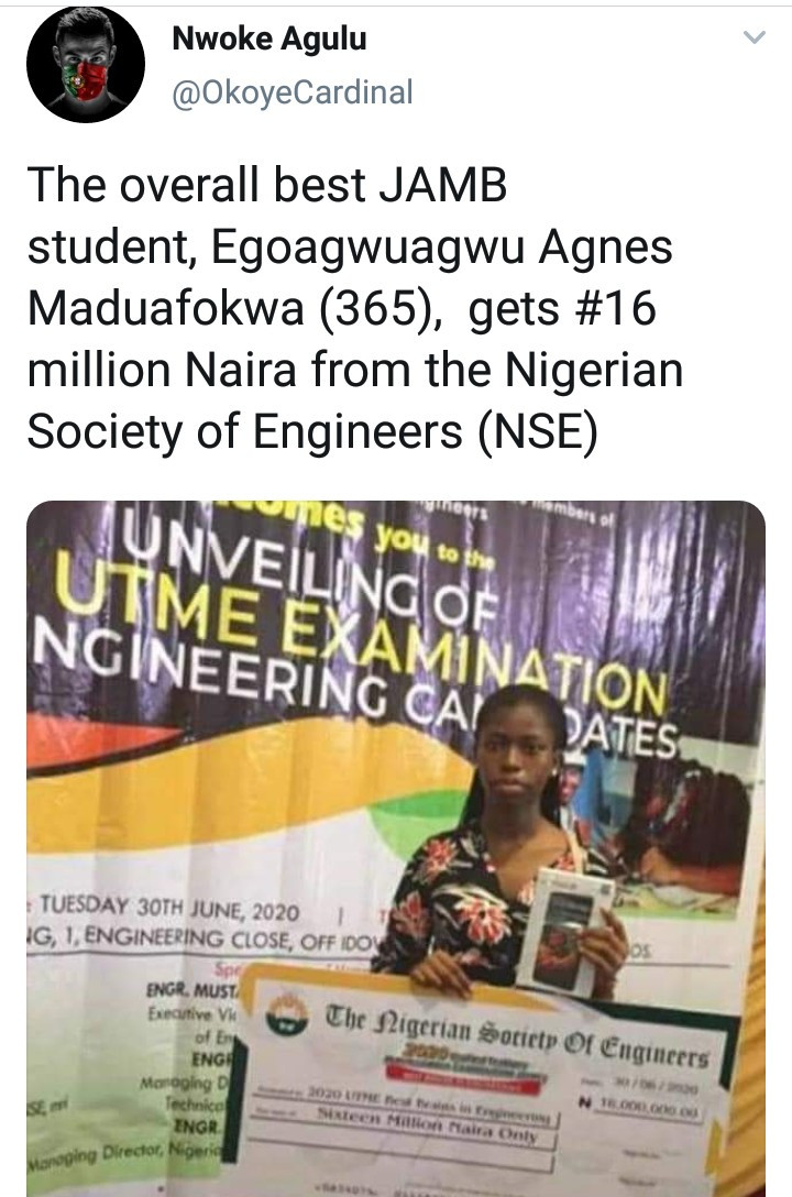 Student with highest JAMB result, Egoagwuagwu Agnes gets 16 million Naira reward from Nigerian Society of Engineers