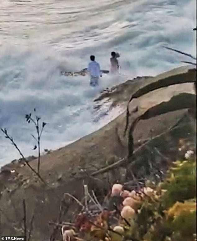 Moment newlyweds are rescued after a huge wave swept them into the sea while they were posing for their wedding photos (video)