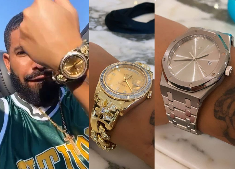 Drake shows off his expensive wristwatches including a