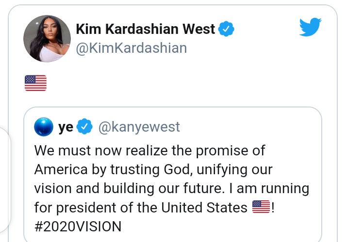 """""""If Kayne wins, we will have 2 first ladies in a row that did p*rn."""" See social Media reactions to Kanye West"""