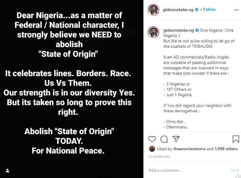Abolish state of origin for national peace - Gideon Okeke