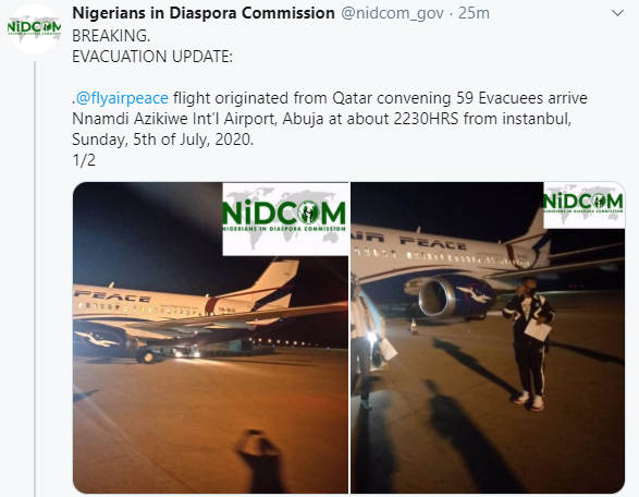 59 Nigerians evacuated from Qatar due to Coronavirus pandemic, arrive Abuja