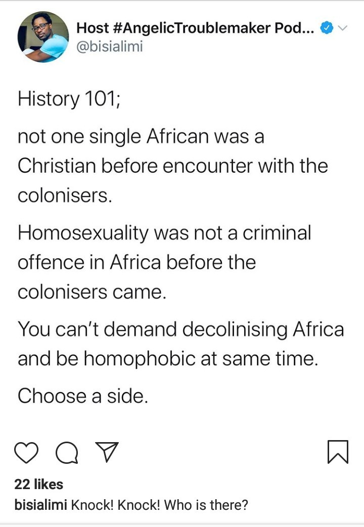 Homosexuality was not a criminal offence in Africa before the colonizers came - Bisi Alimi says