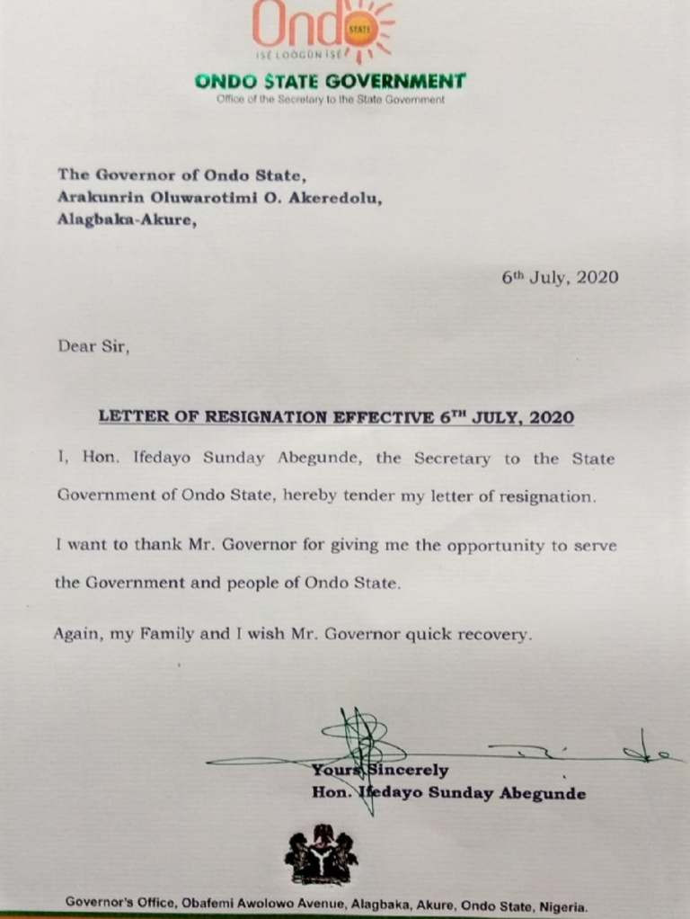 Ondo SSG, Ifedayo Abegunde resigns