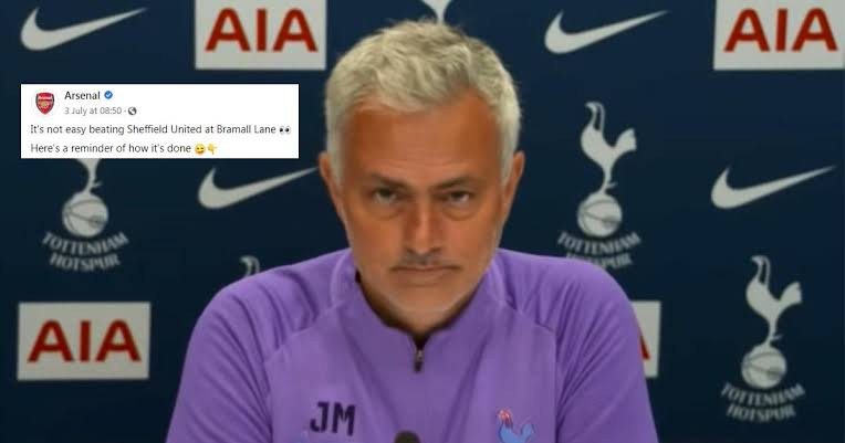Jose Mourinho hits back at Arsenal after the club made social media post mocking his team