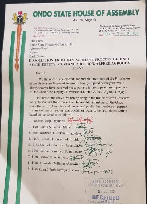 Ondo state House of Assembly serves impeachment notice to deputy governor, Agboola Ajayi