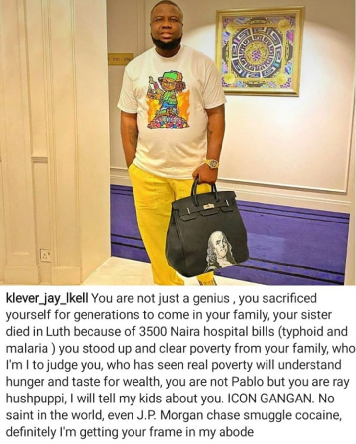 """Hushpuppi is a genius and an icon"" Music promoter Klever Jay Ikell says as he reveals he will frame the alleged fraudster"
