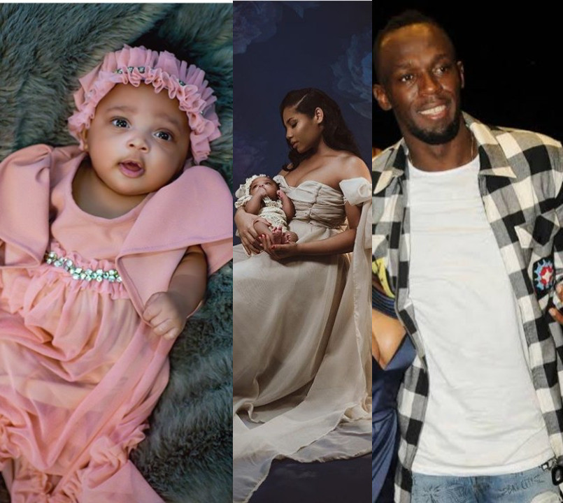 Usain Bolt posts pictures of his newborn daughter for the first time as he reveals her name is Olympia Lightning Bolt