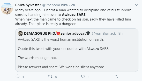 Awkuzu SARS trends on Twitter as users share horrific tales of the extrajudicial killings and police brutality allegedly carried out by their officers