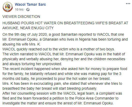 Ghanaian man pours hot water on his breastfeeding wife