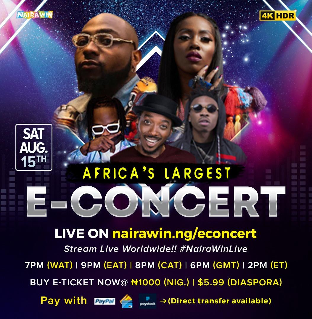 Davido, Tiwa Savage, Naira Marley and Mayorkun to perform in 4KHD at Africa?s largest E-concert, NairaWin Live