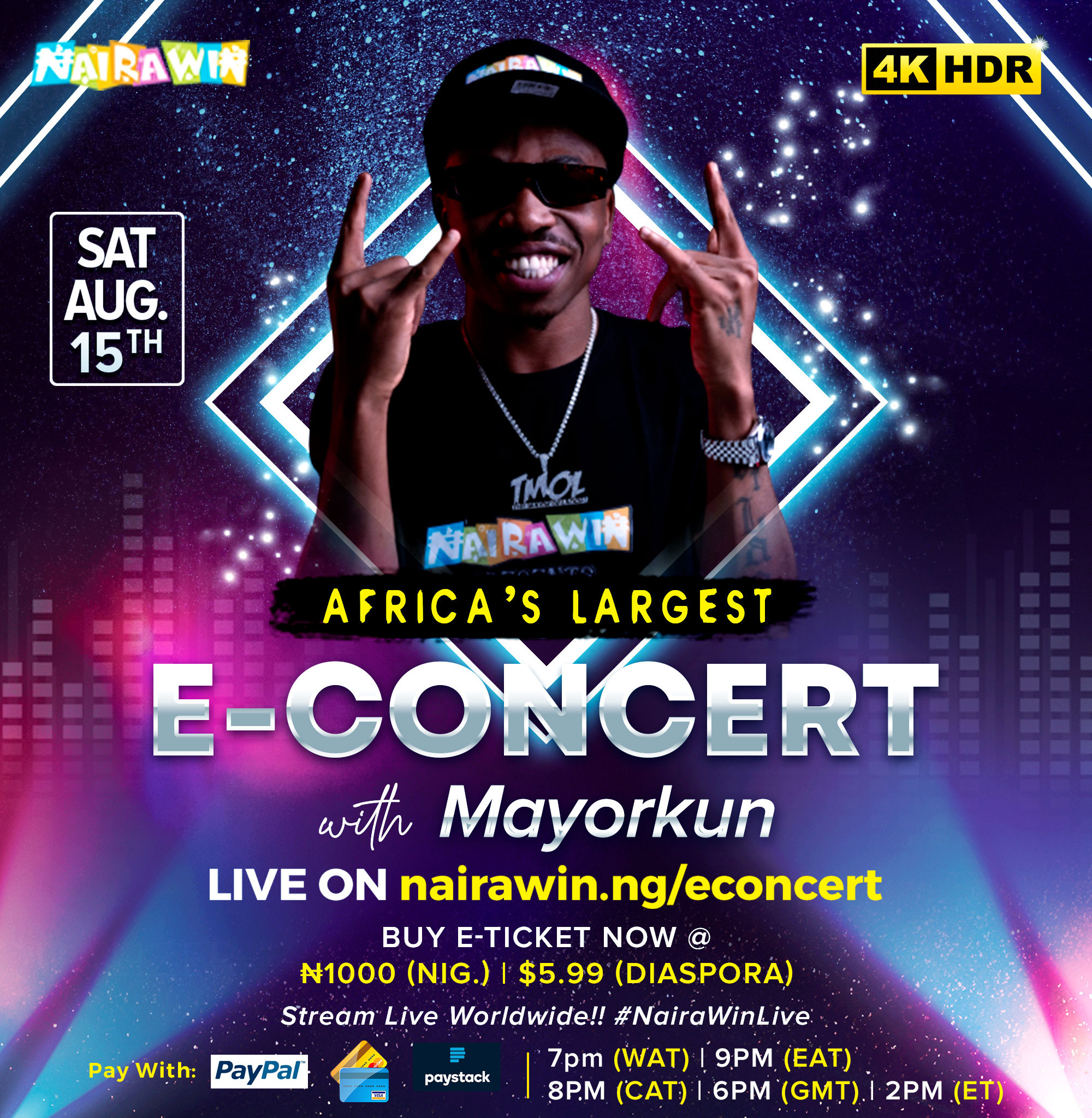 Davido, Tiwa Savage, Naira Marley and Mayorkun to perform in 4KHD at Africa?s largest E-concert, NairaWin Live