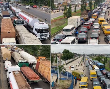 Major traffic congestion in Lagos as trucks and fuel tanker crash on Kara Bridge