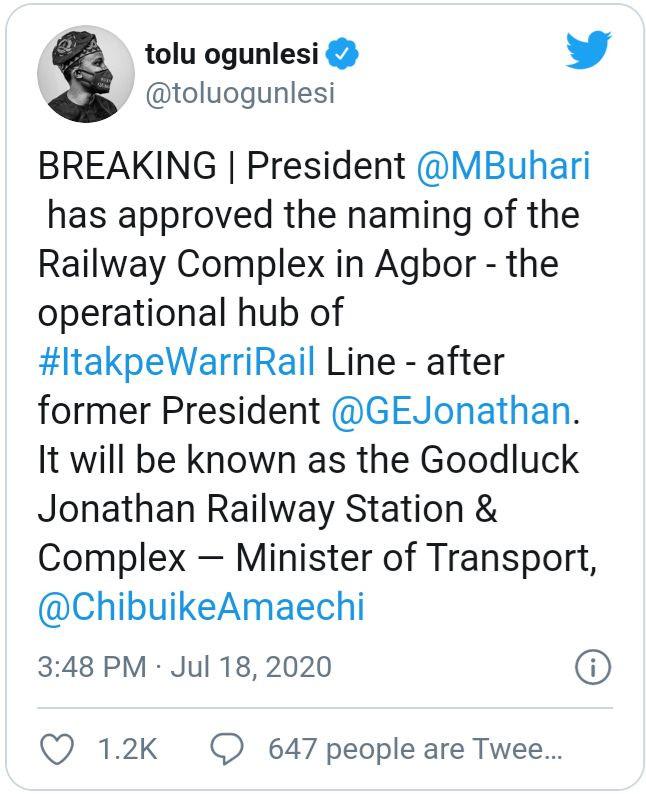 Buhari names railway complex after Jonathan