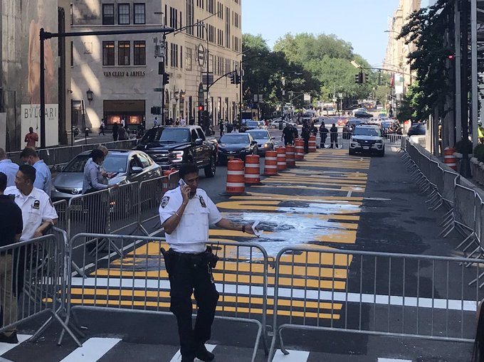 Black Lives Matter mural outside Trump Tower vandalized for third time in one week (photos)