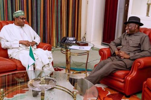 President Buhari and ex-president Goodluck Jonathan in closed door meeting at the Presidential villa