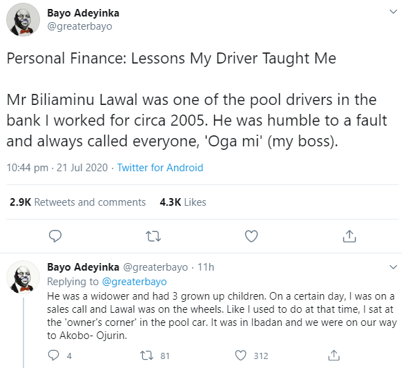 Banker reveals the lesson his driver taught him on personal finance after he discovered that he owns his own house