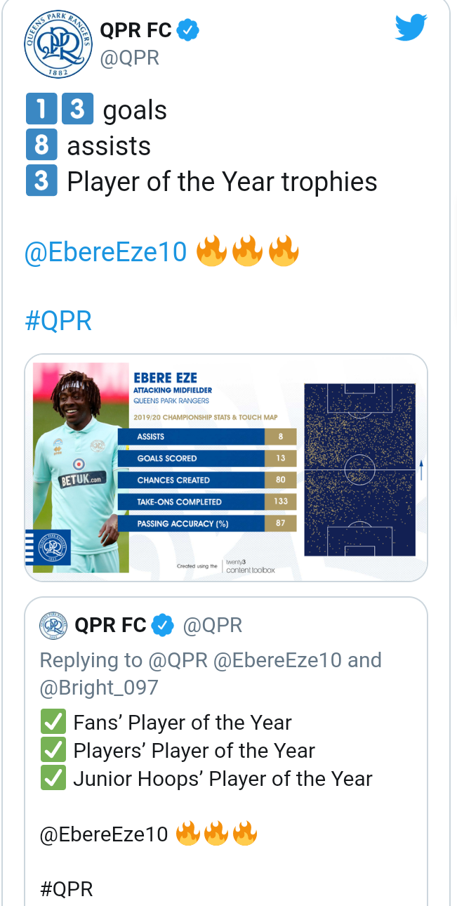 Nigeria players Eze and Osayi-Samuel dominate Queens Park Rangers football club end-of-season awards