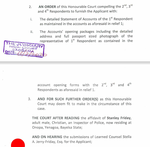 ?No Court Froze of Our Client?s Accounts? ?Dilly Motors? Lawyers