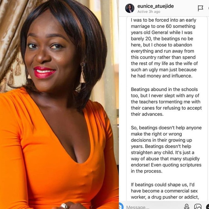 I was to be forced into an early marriage to a 60 something year old General - former presidential aspirant, Eunice Atuejide reveals