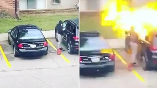 Woman seen in viral video setting fire to her cheating boyfriend?s car? outside a motel has been arrested