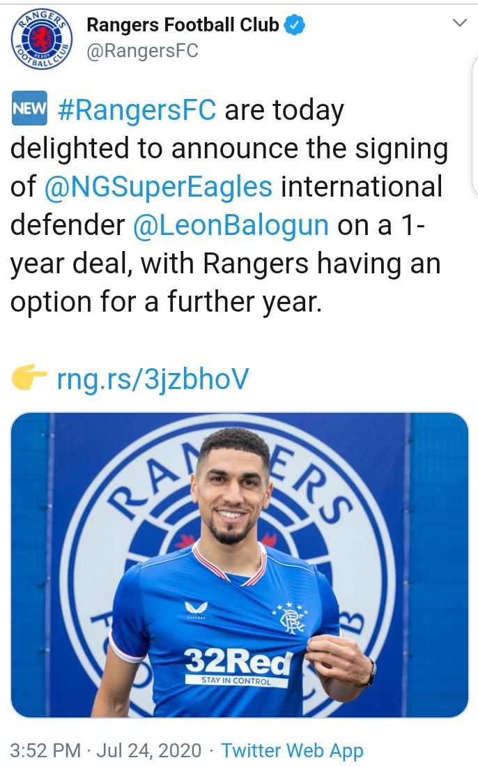 Scottish club, Rangers officially sign Leon Balogun