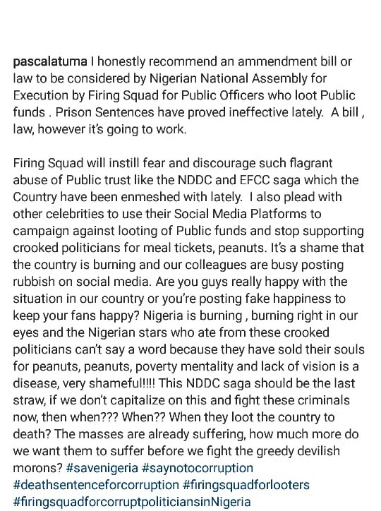 I honestly recommend a law for execution by firing squad for public officers who loot Public funds - Canadian based Nollywood filmmaker,?Pascal Atuma writes on NDDC and EFCC saga