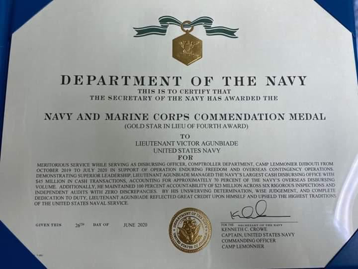US Navy honours Nigerian man, Lt Victor Agunbiade for accountability