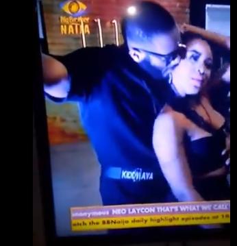 #BBNaija: Moment Erica pushed away Kiddwaya for groping her boobs (videos)
