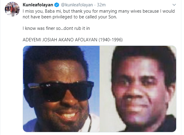 Thank you for marrying many wives  - Kunle Afolayan pens down tribute to his late father