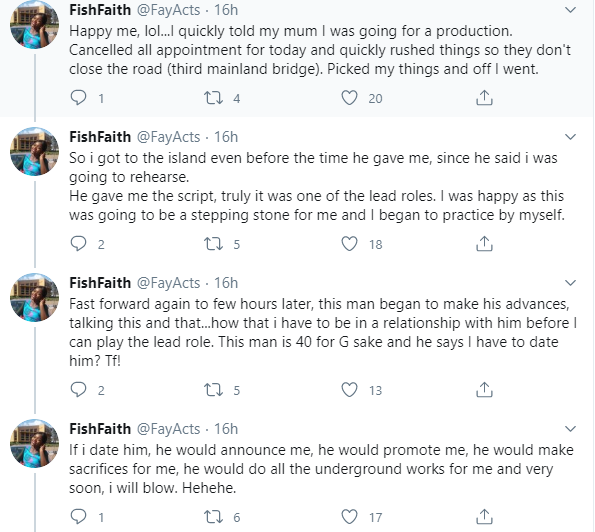 21-yr-old up and coming actress accuses a producer of demanding sex for roles