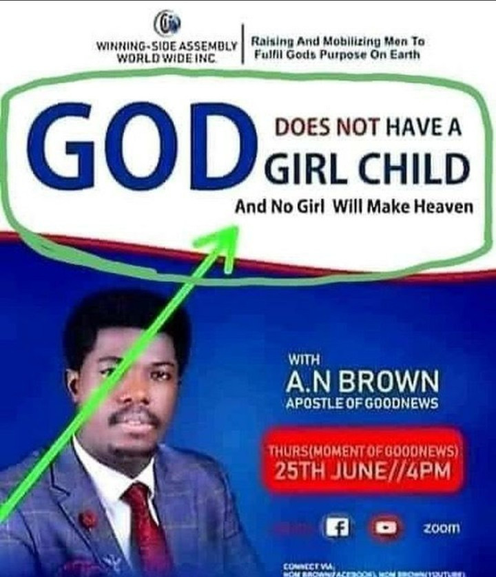 "Pastor called out for his message tagged ""God does not have a girl child... and no girl will make heaven"""