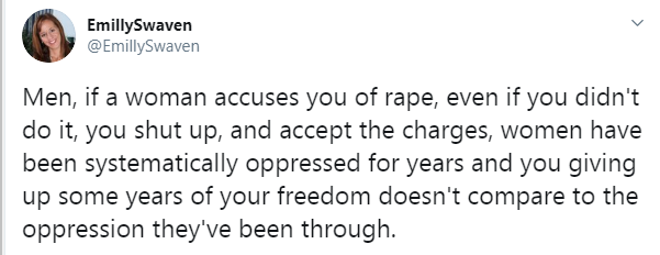If a woman falsely accuses you of rape, you need to shut up and accept the charges - Canadian activist tells men