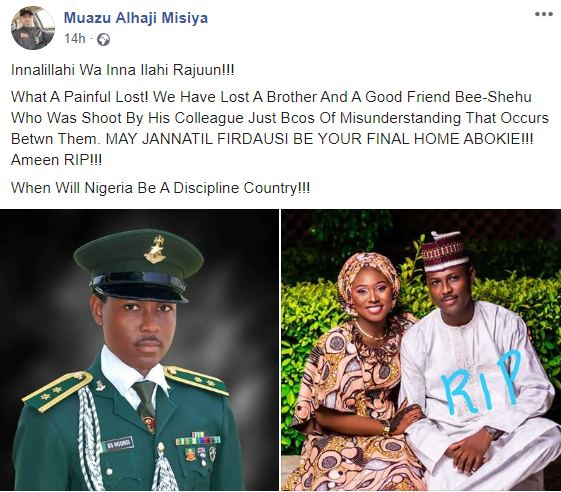Newly married soldier is shot dead by fellow military colleague in Borno