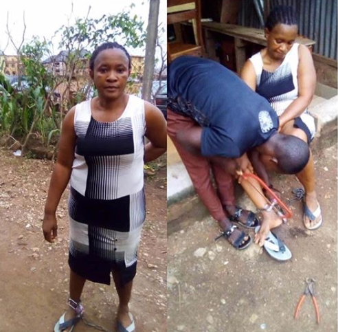 Woman chained to a pillar by her husband is rescued in Ebonyi
