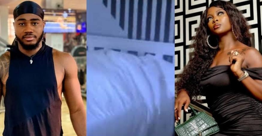 #BBNaija housemates Ka3na and Praise caught on camera having sex ( +18 videos)