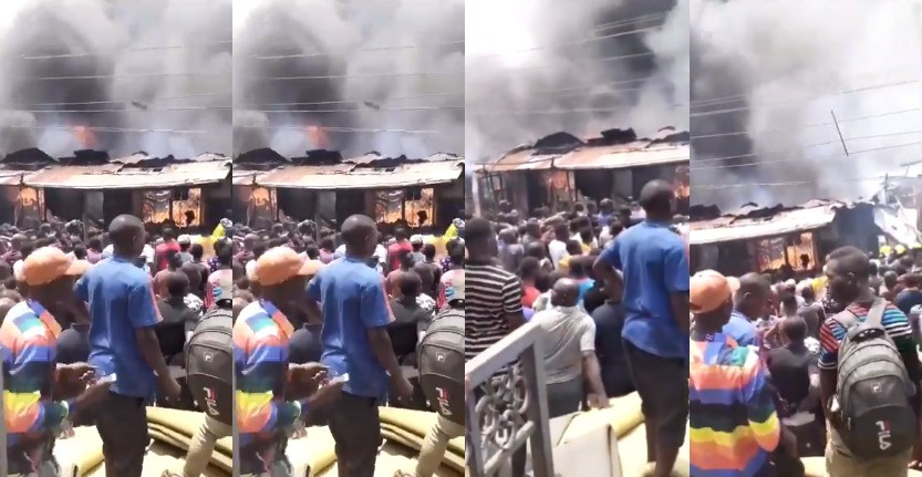 Properties destroyed as fire guts foam market in Lagos (photos/video)