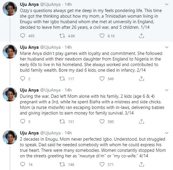 Professor Uju Anya explains why her mother left her father after 26 years, a civil war and 5 kids