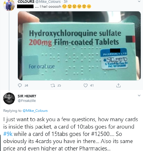 Nigerians express shock as pharmacy sells Hydroxychloroquine sulfate for 50,000 Naira after a Nigerian-trained medical doctor claimed it treats Coronavirus