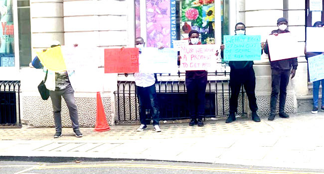 Students On NDDC Scholarship stage protest in London over non-payment of their tuition fees (photos)