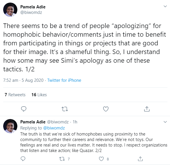 """It?s a shameful thing"" LGBTQ Rights advocate Pamela Adie criticizes celebrities who apologize for their homophobic behaviours for their personal benefits"